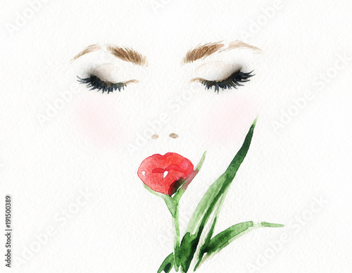 Fotobehang Anna I. Beautiful woman face and flower. Fashion illustration.
