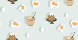 Hand drawn vector abstract modern cartoon cooking time fun illustrations icons seamless pattern with eggs,pudding and pot isolated on blue background - 191500743