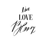 Hand drawn vector ink graphic handwritten calligraphy lettering text Live Love Bloom isolated on white background.Spring time concept - 191501563