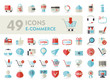 E-commerce set vector icons shopping and online