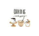 Hand drawn vector abstract modern cooking time handwritten ink textured calligraphy logo,label or sign and cartoon illustrations with Cooking classes text isolated on white background - 191502763