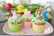 Leinwanddruck Bild - Kleiner Cupcake zu Ostern