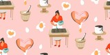 Hand drawn vector abstract modern cartoon cooking time fun illustrations seamless pattern with cooking chef womans in white aprons preparing cookies and food isolated on pink pastel background - 191503160