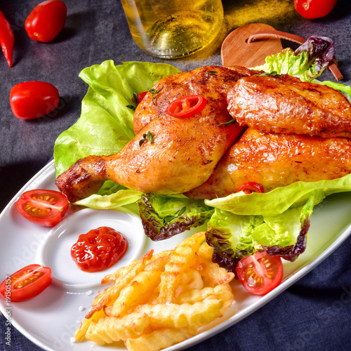 fried chicken with chips and salad - 191505157