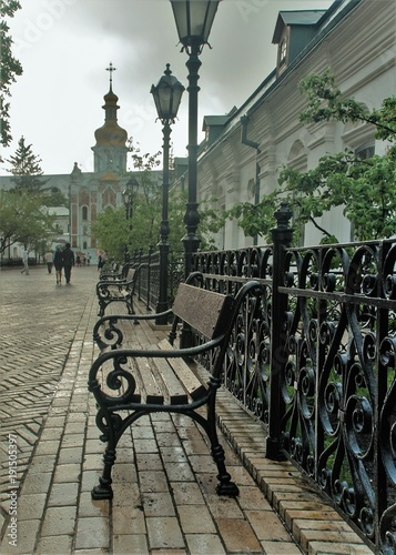 Aluminium Kiev Forged lanterns, antique benches, decoration of Kiev Pechersk Lavra