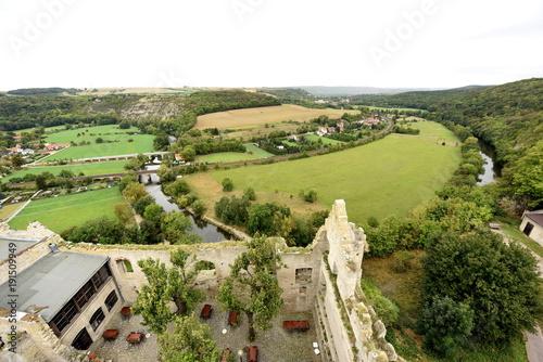Foto op Canvas Pistache Aussicht vom Turm der Rudelsburg