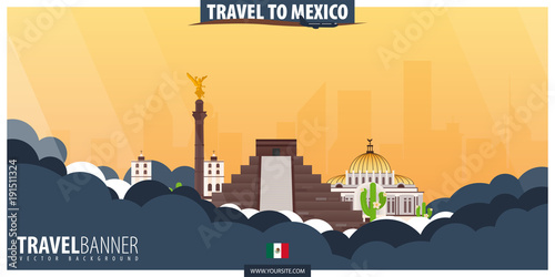 Travel to Mexico. Travel and Tourism poster. Vector flat illustration.
