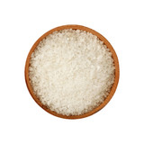 Close up wooden bowl full of white salt isolated - 191512372