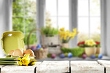 easter window space and desk of free space  - 191512961