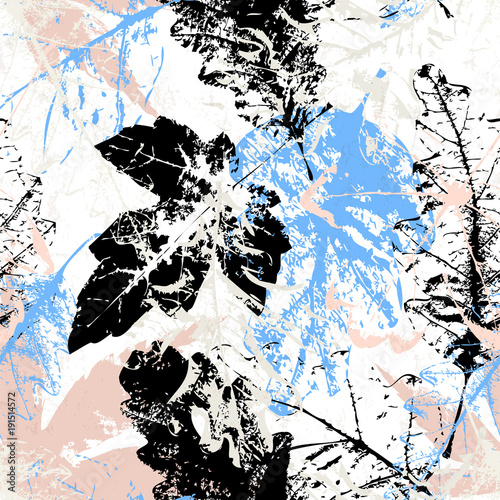 Fotobehang Abstract met Penseelstreken seamless pattern background, with leaves, strokes and splashes