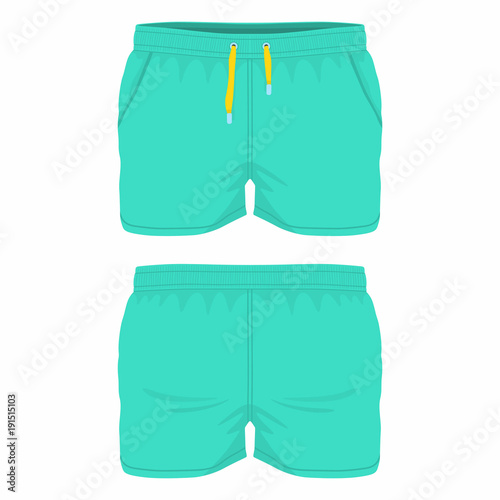 Men's green sport shorts. Front and back views on white background
