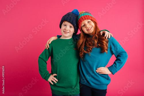 Leinwandbild Motiv Two happy little children