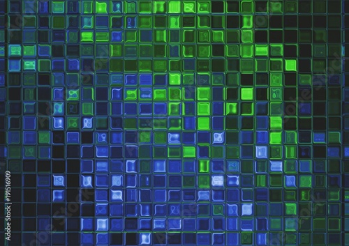Green and blue lightning bolt, abstract electrical background - 191516909