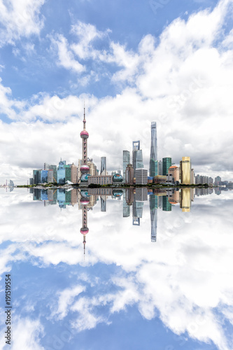 Foto op Canvas Shanghai Shanghai cityscape with dramatic clouds