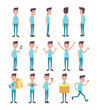 Set of young man in different poses. Vector cartoon character in a flat style for your projects.