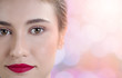 Close up beautiful woman face on blur background