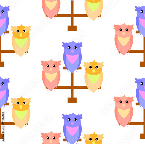 Fotobehang Uilen cartoon Pattern of cute owls on a perch of three colors red, blue and orange,vector