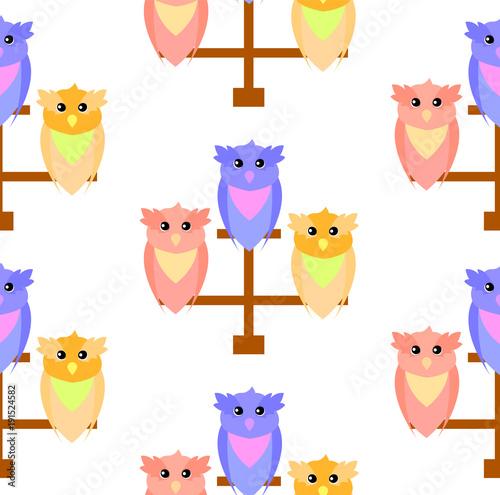 Foto op Plexiglas Uilen cartoon Pattern of cute owls on a perch of three colors red, blue and orange,vector