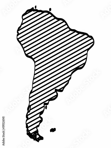 South America map outline graphic freehand drawing on white ...