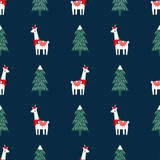 Christmas tree and cute lama with xmas hat seamless pattern on dark blue background. Vector xmas illustration for kids. Design for fabric, wallpaper, textile, wrapping paper and decor.