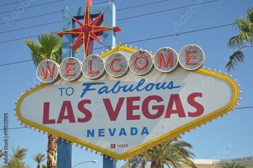 Deurstickers Las Vegas Welcome Las Vegas Poster On The Las Vegas Strip. Travel Holidays June 26, 2017. Las Vegas Strip, Las Vegas Nevada USA.EEUU.