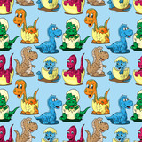 Fototapeta Dinusie - seamless pattern illustration depicting little cubs of different dinosaurs in an egg children drawing blue background © svarog19801