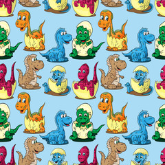 seamless pattern illustration depicting little cubs of different dinosaurs in an egg children drawing blue background