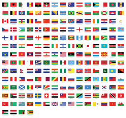 All national flags of the world with names - high quality vector flag isolated on white background