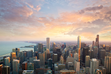 Chicago skyline at sunset time aerial view, United States