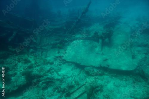 Keuken foto achterwand Schip Shipwreck on bottom of caribbean sea