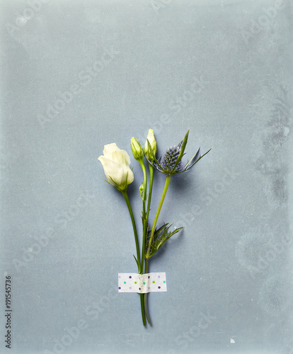 Fotobehang Stenen Prairie Gentian and Sea Holly Flowers on rustic background