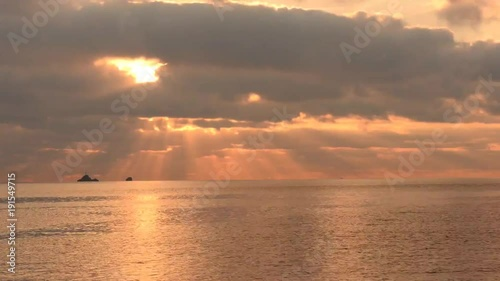 Time lapse in motion a golden sunrise in the sea of Ibiza