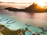 Aerial view of Bora Bora with sunset on Mount Otemanu in French Polynesia. - 191549929
