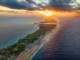 Aerial view of the Rangiroa atoll at sunset in Tahiti. - 191549985