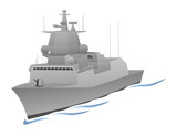 Naval Warship Vector Graphic