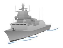 Naval Warship  Graphic Sticker