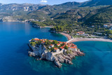 Aerial view of the hotel sveti stefan from the sea. Montenegro.