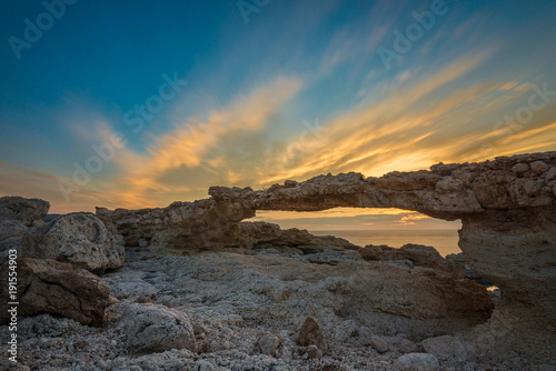 Keuken foto achterwand Natuur Natural arch of Portinatx at sunset, Ibiza, Spain