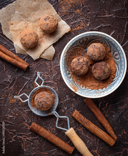 Candy truffles with cocoa powder