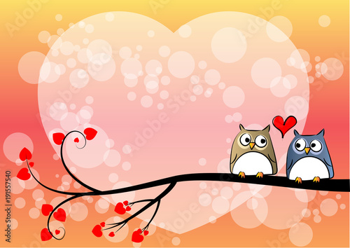 Fotobehang Uilen cartoon valentines day card