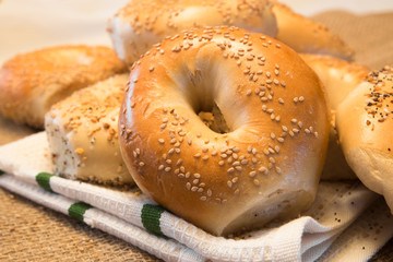 Authentic New York Style bagels with sesame seeds