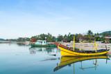 Fishing boats moored on Bang Kao beach - 191563725
