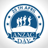 anzac day with Silhouette soldiers in the field vector illustration graphic design - 191570543