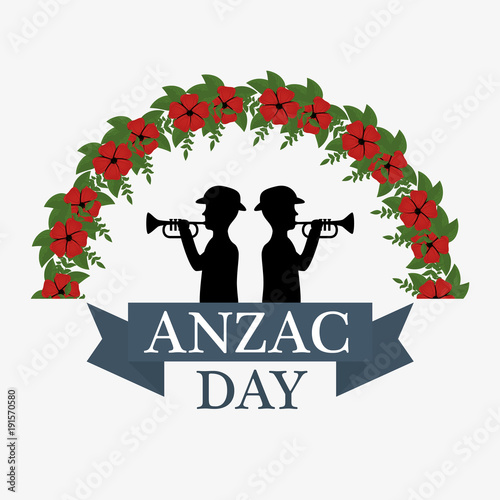 Aluminium Vintage Poster anzac day background with soldiers blowing trumpet with text Lest we forget vector illustration graphic design