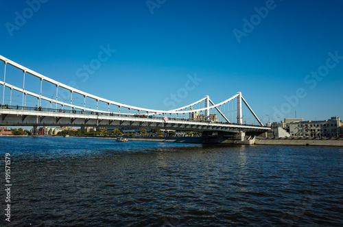 Fotobehang Moskou View of the Crimean bridge from the embankment, Moscow, Russia