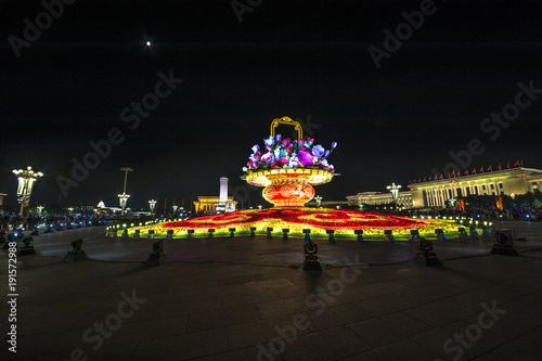 Fotobehang Peking The big flower basket in the night for Chinese National Day