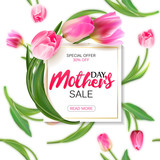 Fototapety Mother's day sale shopping special offer holiday banner vector illustration. White plate with pink tulips on seamless tulips backdrop