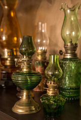 Collection of old-styled kerosene lamps