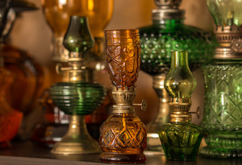 Collection of old-style kerosene lamps