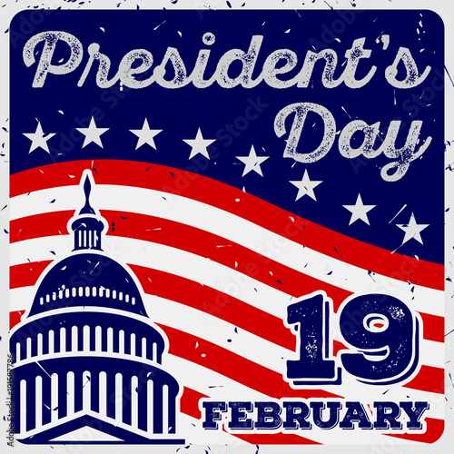 Aluminium Vintage Poster President's Day Vintage USA greeting card, United States of America celebration.